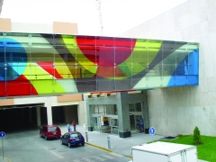 Multi-colored film used for a buildings entrance