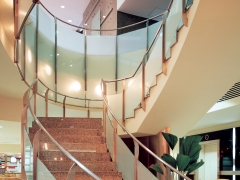 Add frosted window film for a visual effect in stairways