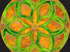 Stained glass film in a vibrant green pattern